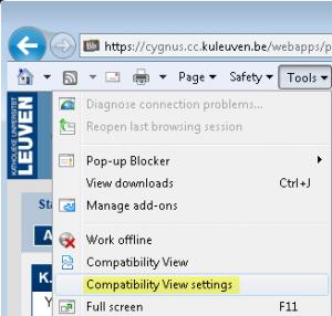 Klik op Tools en vervolgens op Compatibility View Settings