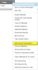 Editeer de kolom informatie van de kolom Toets